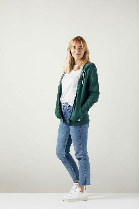 Damen basic Zip-Hoodie green stone