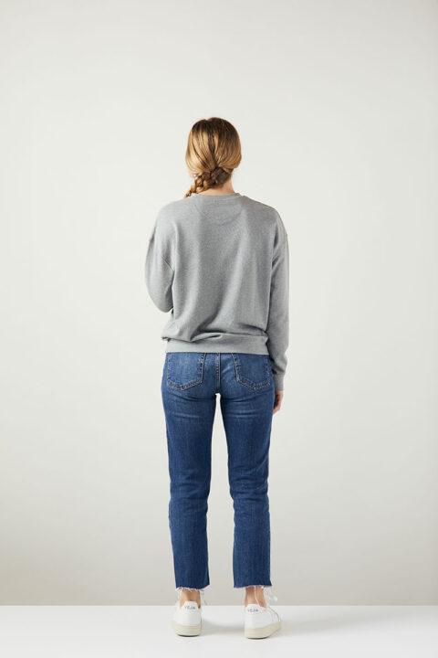 Damen Sweater Bird stone grey