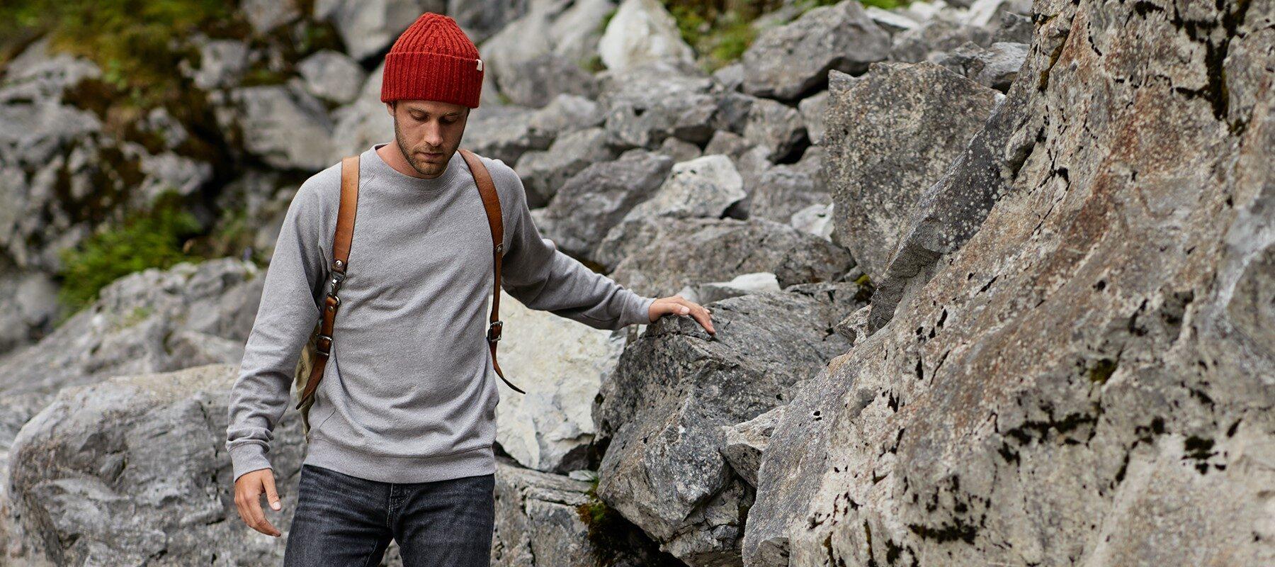 Herren Sweater stone grey