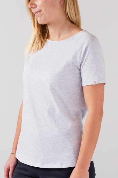 Women basic T-Shirt silver shine