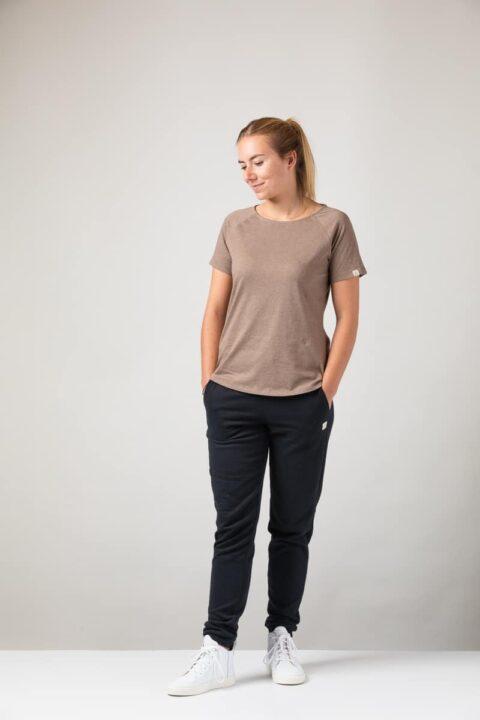 Women basic T-Shirt brown mel.