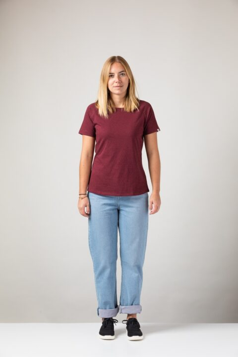 Women basic T-Shirt dark wine