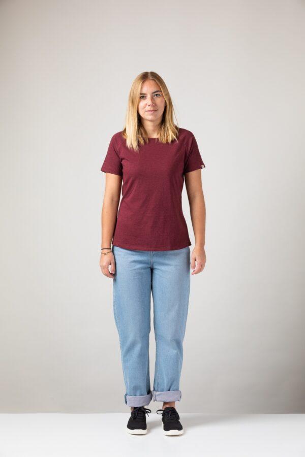 Women basic T-Shirt dark wine