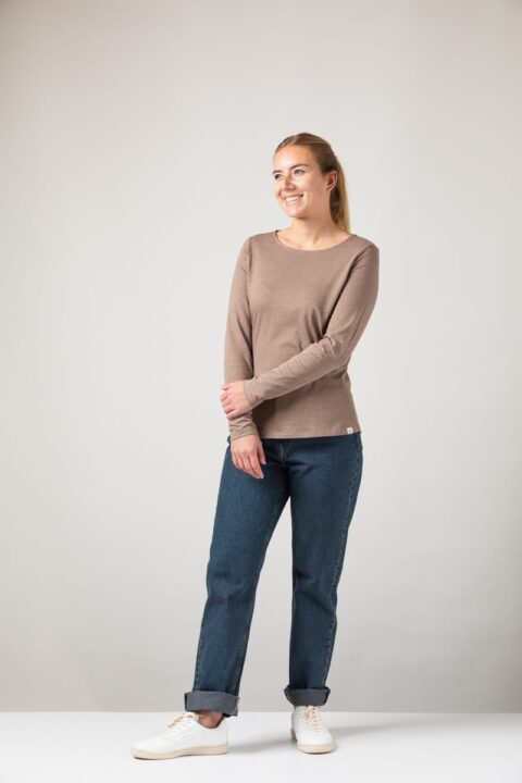 Women basic Longsleeve brown mel.