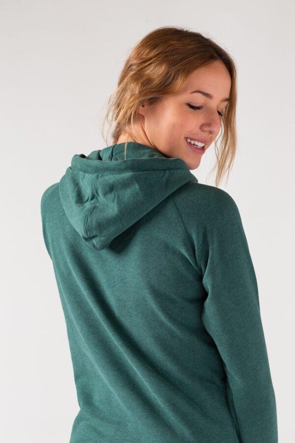 Women basic Hoodie green stone