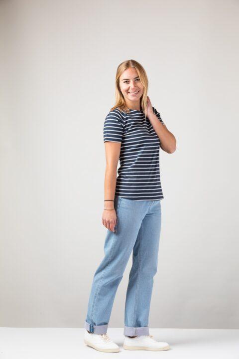 Women Ringel T-Shirt blue/silver