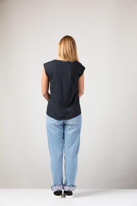 Women basic Two Shirt black