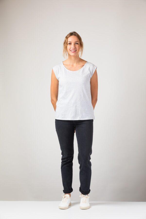 Women basic Two Shirt silver shine