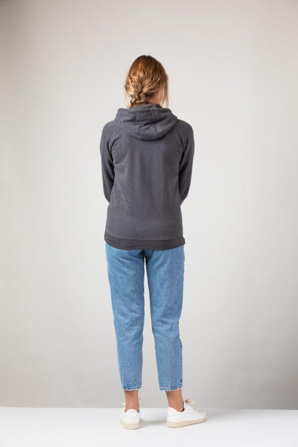 Women basic Zip Hoodie onyx