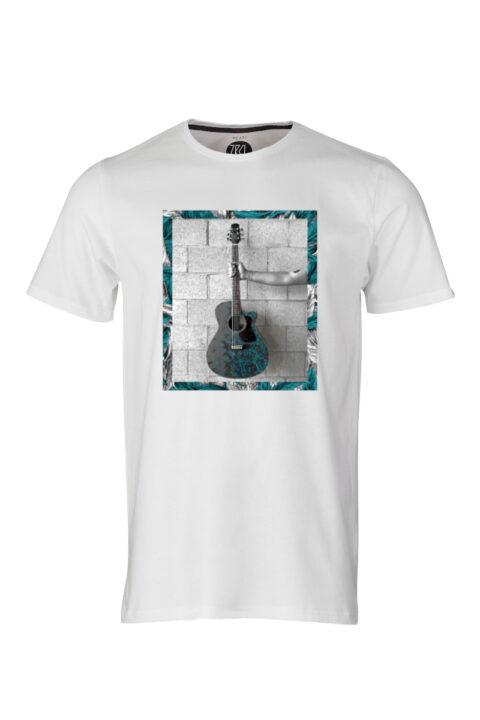 Men T-Shirt Dabu Guitar white