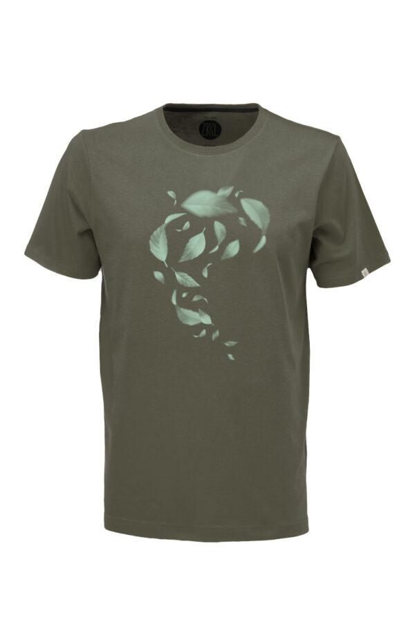 Men T-Shirt Leaves olive