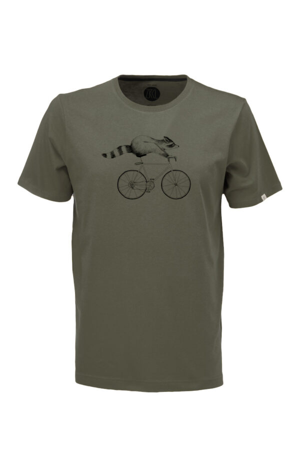 Men T-Shirt Raccoon olive