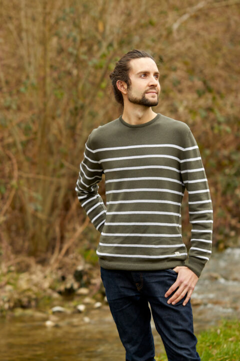 Men Ringel Sweater olive-silver
