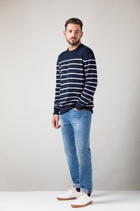 Men Ringel Sweater blue/silver