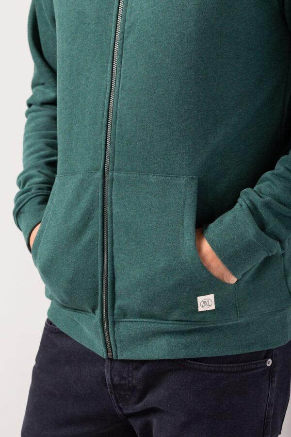 Men basic Zip-Hoodie green stone