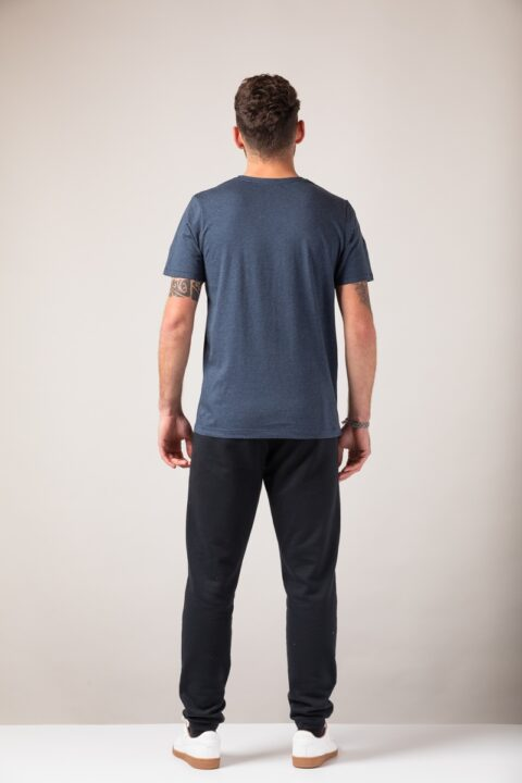 Men basic T-Shirt blue stone