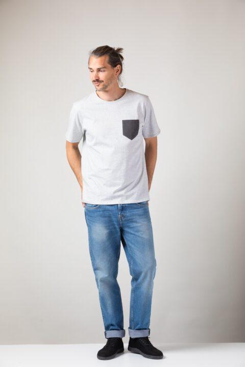 Men Pocket T-Shirt silver shine