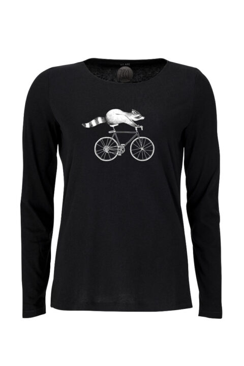 Women Longsleeve Raccoon black
