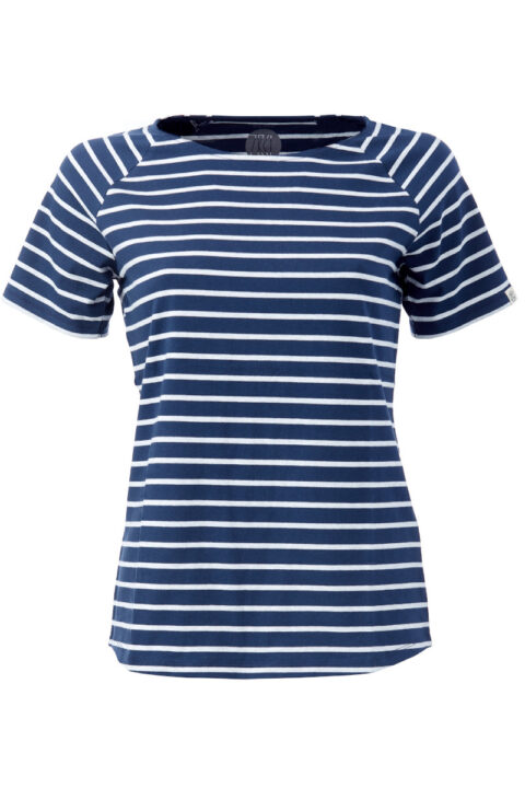 Damen Ringel T-Shirt Blue Silver shine