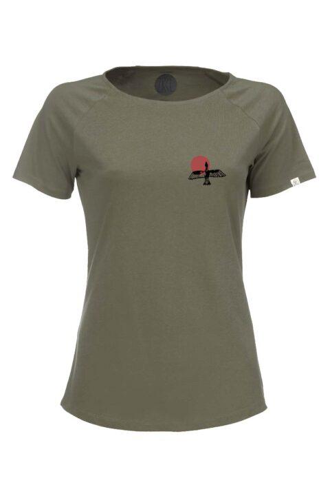 Damen T-Shirt Bird olive