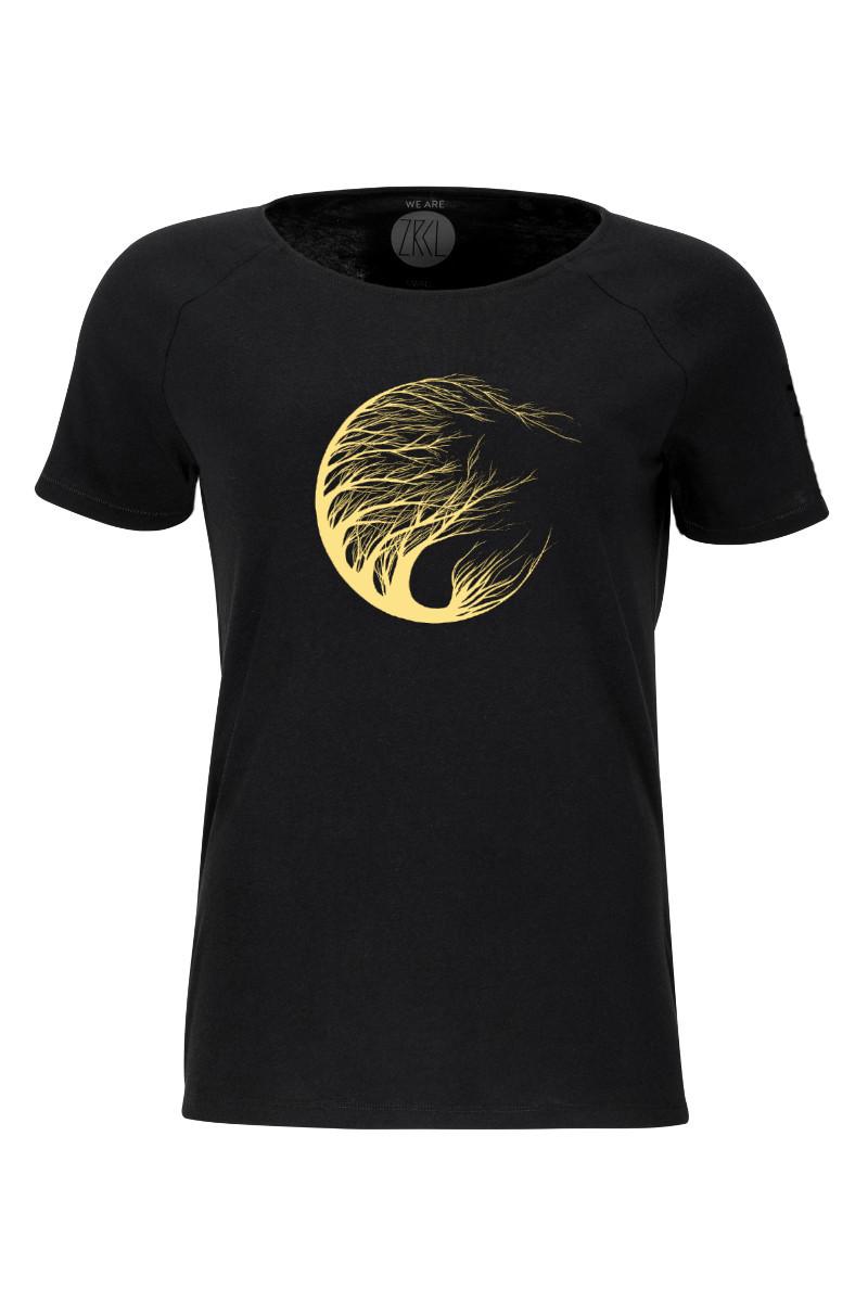 Women T-Shirt Circle Tree black