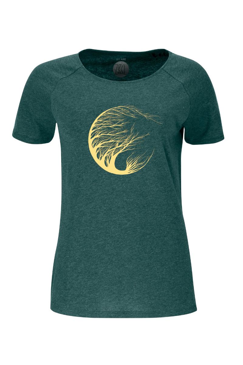 Women T-Shirt Circle Tree green stone
