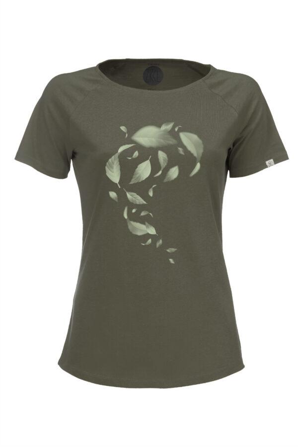 Women T-Shirt Leaves olive