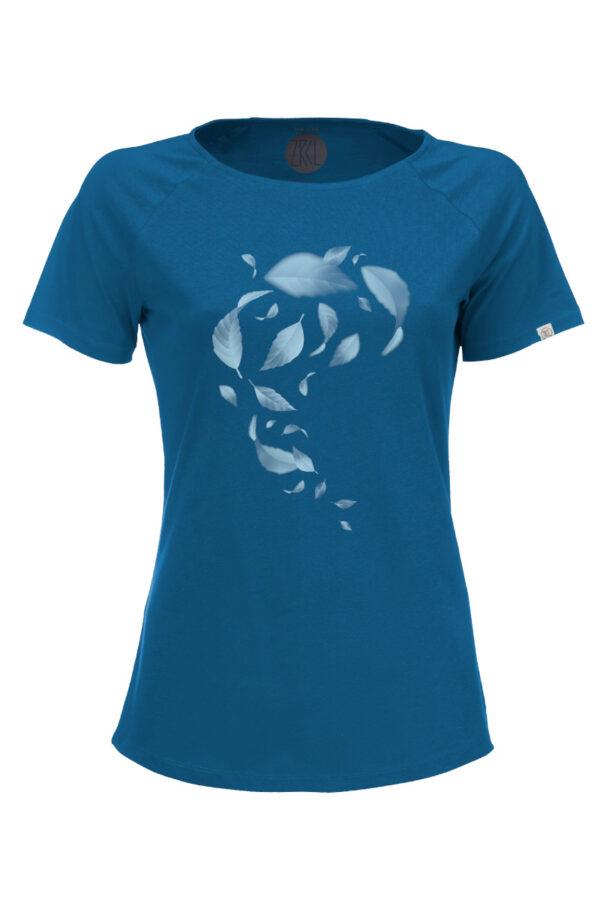Women T-Shirt Leaves petrol