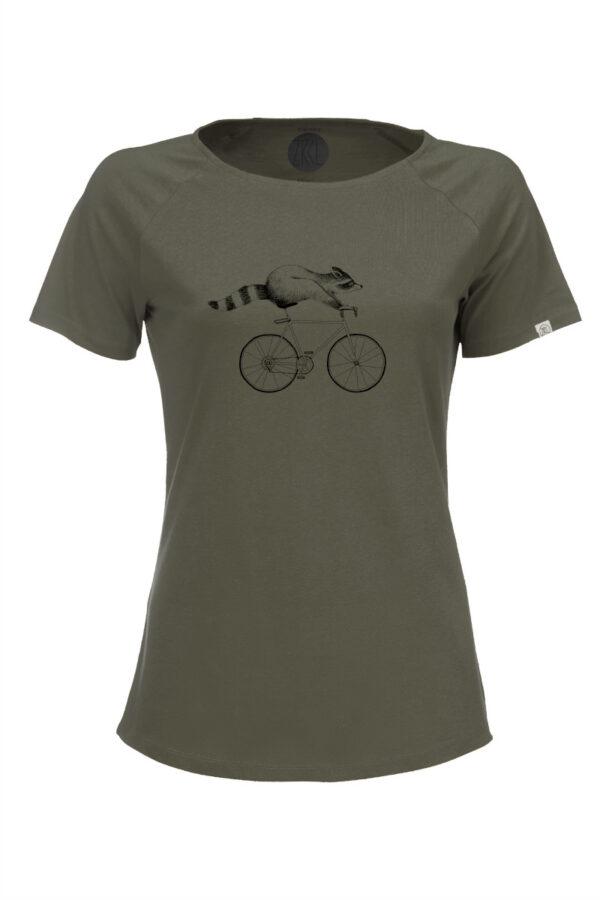 Women T-Shirt Raccoon olive