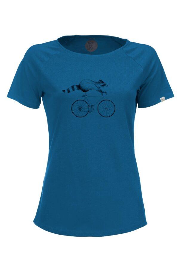 Women T-Shirt Raccoon petrol