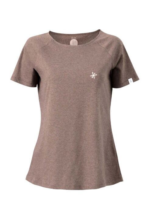 Damen T-Shirt Snowflake brown mel.