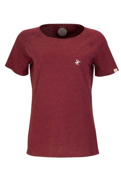 Damen T-Shirt Snowflake dark wine