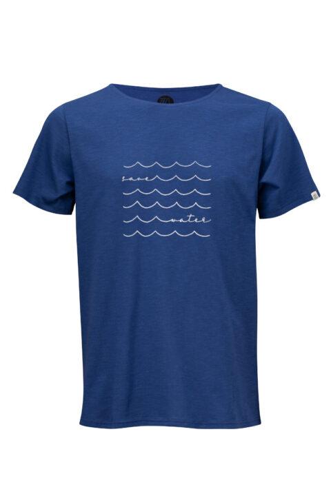Men Loose T-Shirt Save Water blue