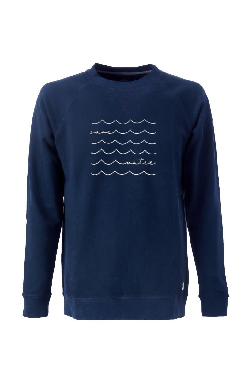 Men Sweater Save Water blue