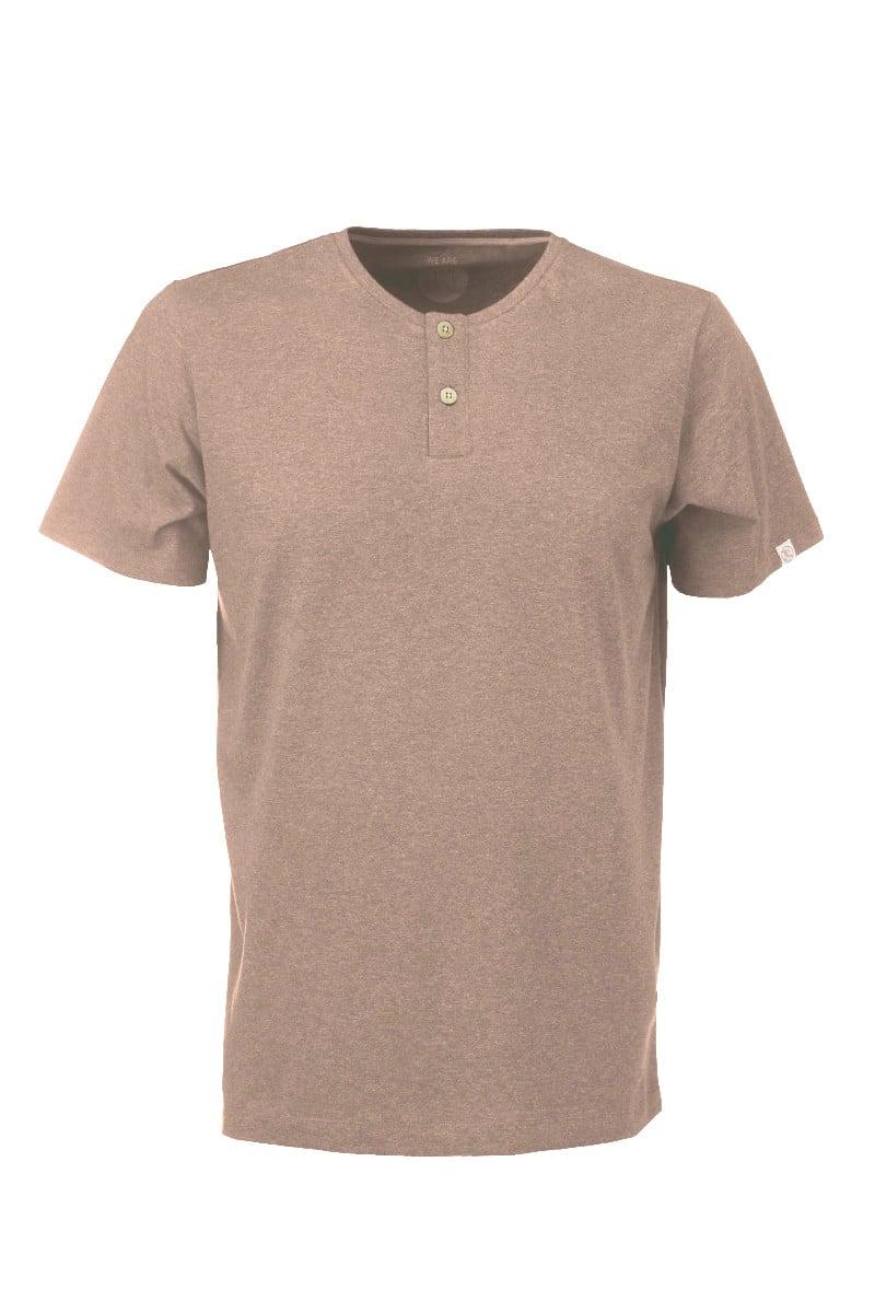 Men Henley T-Shirt brown mel.