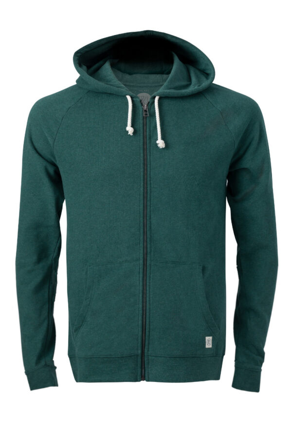 Men Zip Hoodie basic green stone
