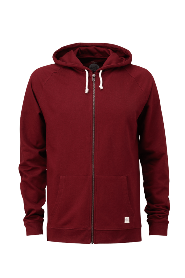 Men Basic Zip Hoodie bordeaux