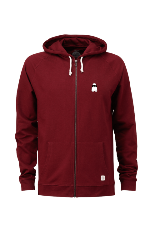 Men Zip Hoodie Ghost Bordeaux