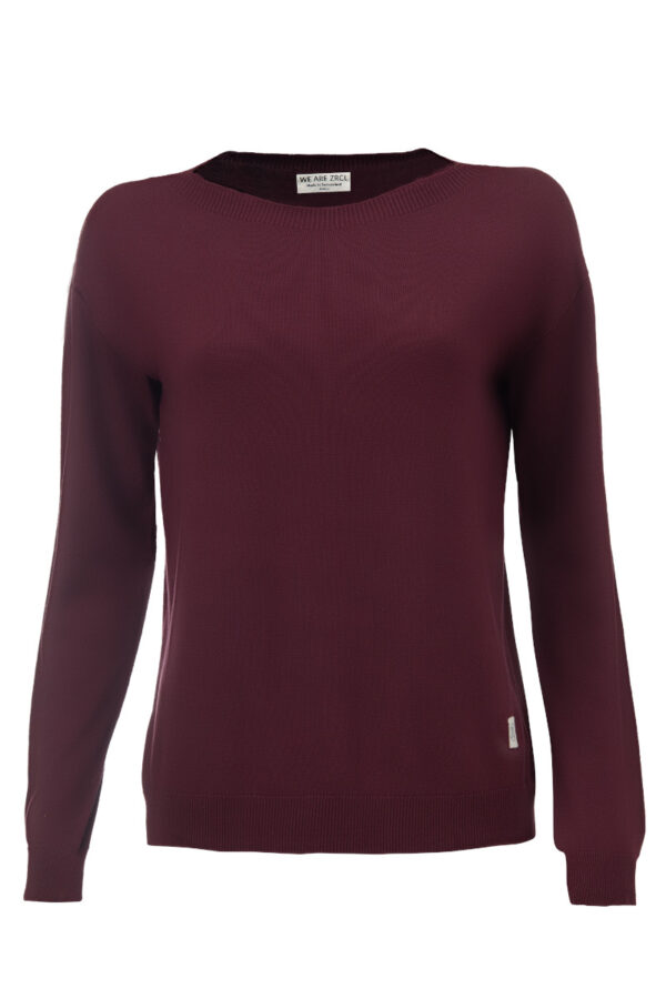 Women basic Sweater dark wine Swiss Edition