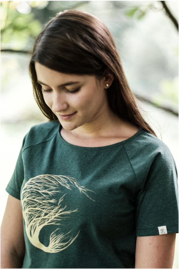 Damen T-Shirt circle tree green stone